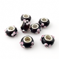 4 LAMPWORK 14X9MM GLASS BEADS 5mm HOLE AMETHYST